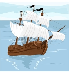Old ship with white sales vector
