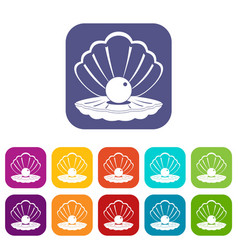 Pearl in a sea shell icons set flat vector