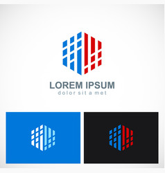 Polygon digital technology business logo vector