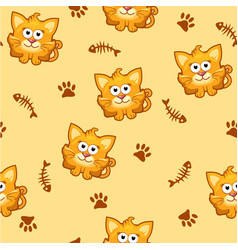 seamless pattern square cat and fish vector image vector image