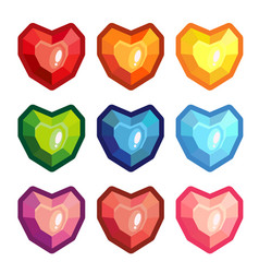 set of colored stones in the form of a heart vector image vector image