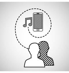 silhouette head connected mobile music social vector image vector image
