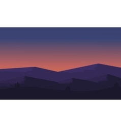 Silhouette of mountain and hill scenery vector image vector image