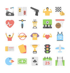Sports and games flat colored icons 6 vector