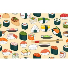 Sushi seamless background vector