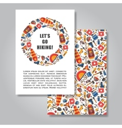 Two sides invitation card design with hiking and vector
