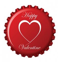 Valentine's bottle cap vector image vector image