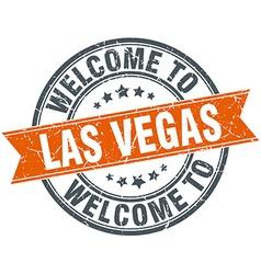 welcome to Las Vegas orange round ribbon stamp vector image
