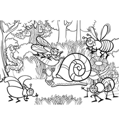 Cartoon insects for coloring book vector