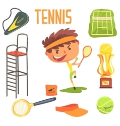 Boy tennis playerkids future dream professional vector