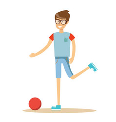 Young soccer player kicking a ball vector
