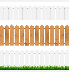 Fence with green grass and blue sky vector