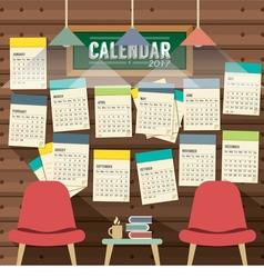 2017 calendar starts sunday library concept vector
