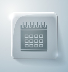 Glass square icon with highlights calendar vector