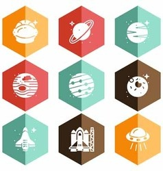Solid icons planets and space vector