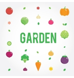 Garden with vegetables icons set seeds leaves vector