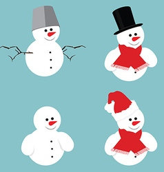 Snowman icon set vector