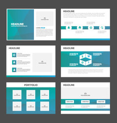 Blue green presentation templates infographic vector