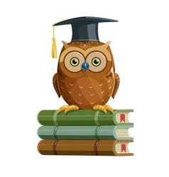 Clever owl sitting on books vector