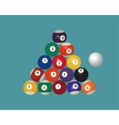 American pool billiard balls top view vector