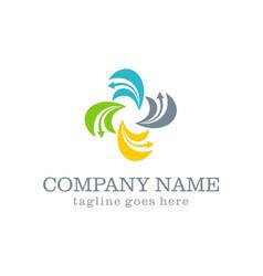 circle curve arrow colored company logo vector image