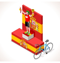 Cyclist vuelta winner isometric people 3d vector
