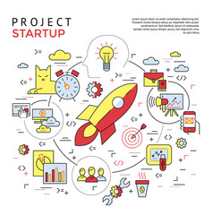 digital yellow and red startup business vector image
