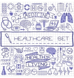 Doodle medical set of icons vector image