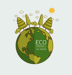 ecology concept with green eco earth vector image
