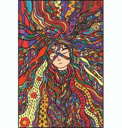 fantasy girl hair color vector image