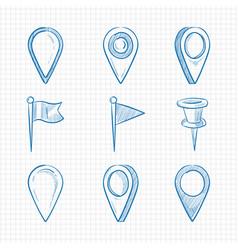 hand drawn doodle navigation pins vector image