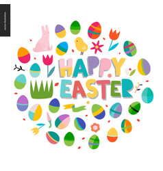 happy easter lettering round vector image vector image