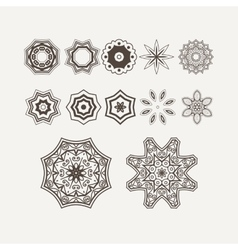 Intricate Henna Lines Painted Flowers Set vector image vector image