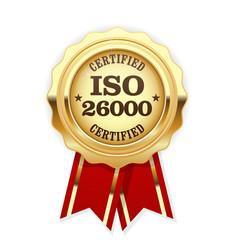 iso 26000 standard rosette - social responsibility vector image vector image
