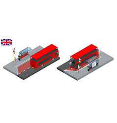 Isometric set of london double decker red bus and vector