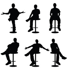 man silhouette sitting on bar stools vector image vector image