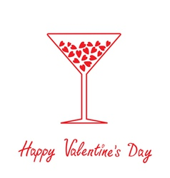 Martini glass with hearts inside Happy Valentines vector image vector image