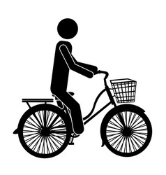 Monochrome pictogram of man in classic bicycle vector