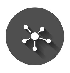 Social network molecule dna icon in flat style vector