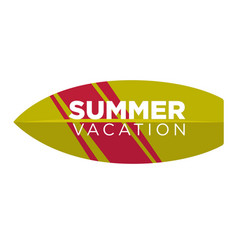 Summer vacation logo label in surfing board shape vector