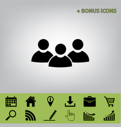 Team work sign black icon at gray vector