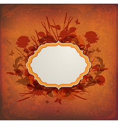 Vintage orange background with label vector image vector image