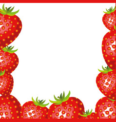 White background with border of strawberries vector