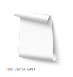 White vertical curved paper sheet banner with roll vector image vector image