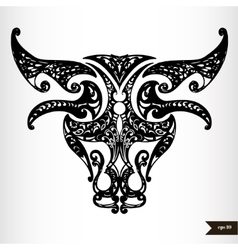 Zodiac signs black and white - Taurus vector image vector image