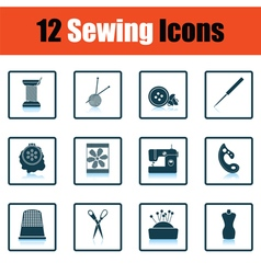 Set of twelve sewing icons vector