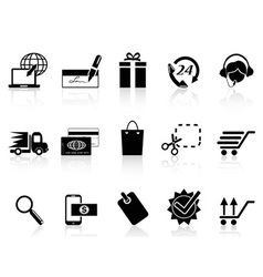Black e-commerce and shopping icon vector