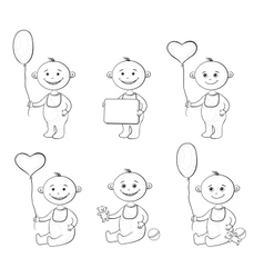 Cartoon children with toys outline vector image