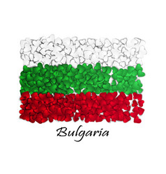 Love bulgaria flag heart glossy with love from vector