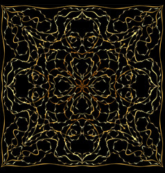 Black bandanna with gold floral pattern vector
